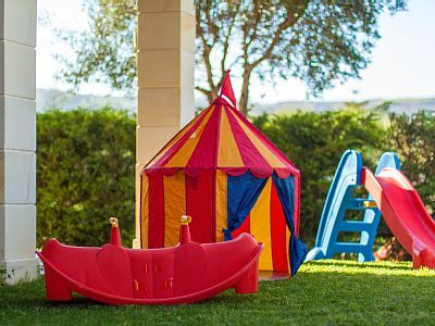Rethymno villa rental - Children's playground and kids' toys available at the terrace!