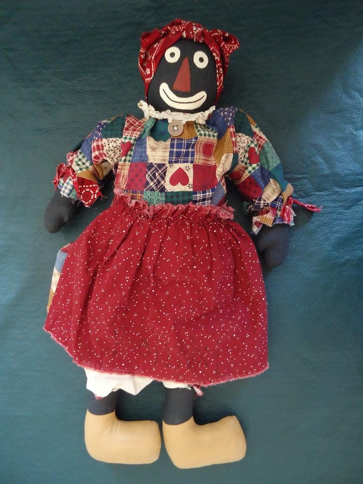 "Vintage Handmade Black Americana Cloth BELOVED BELINDY, GOLLIWOG Doll, 20"""