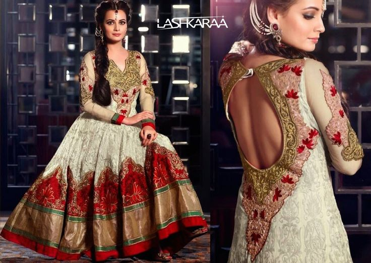Be the ethereal goddess in this white and gold Anarkali suit featuring sober golden embroidery along the neckline and the border area. http://www.lashkaraa.com/blog/bollywood-replica-floor-length-anarkali-suits/