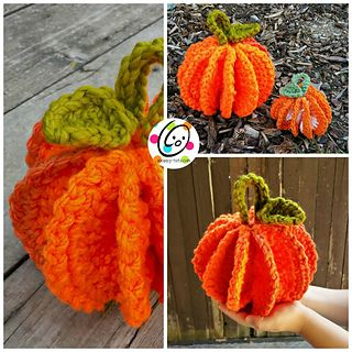 """I made a larger version of my """"PeachTawashi"""" as a pumpkin scrubbie. It turned…"""