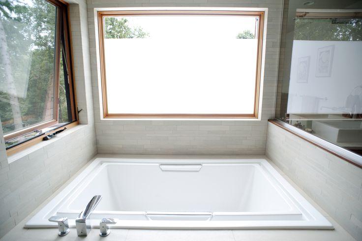 Small Bath Design Ideas With Square Deep Bathtub With Tree Window  - Modern small square bathtub