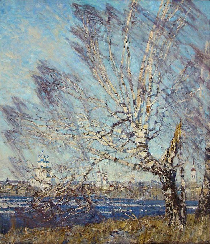 Mikhail Georgievich Abakumov (Абакумов Михаил Георгиевич Russian, 1948-2010) Крылья весны  2000 oil on canvas 140×130 via