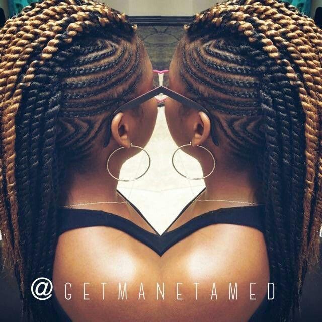 Braided Mohawk On Natural Hair With Marley Hair Marley