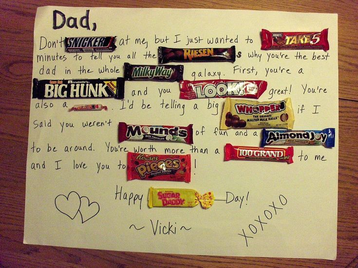 Handmade card for boyfriend tumblr. fathers day candy bar poster
