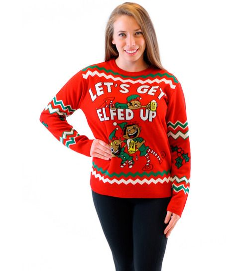For the person who is looking for that perfect ugly holiday sweater but at the same time also looking to offend a lot of people! This hideous tacky, ugly, and funny Let's Get Elfed Up Drunken Elves A