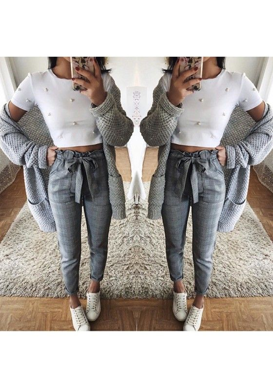 Gray Plaid Pockets Print High Waist Tie Belt Casual Ladies Nine & # 39; s Pants With Bow Paperbag Pants