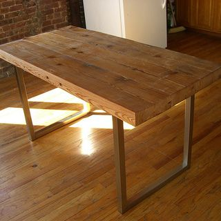 Reclaimed Wood Table via Instructables with IKEA legs