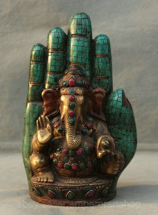 "9"" Old Antique Tibet Turquoise Copper Gemstone Ganesh Ganesha Buddha Hand Statue"