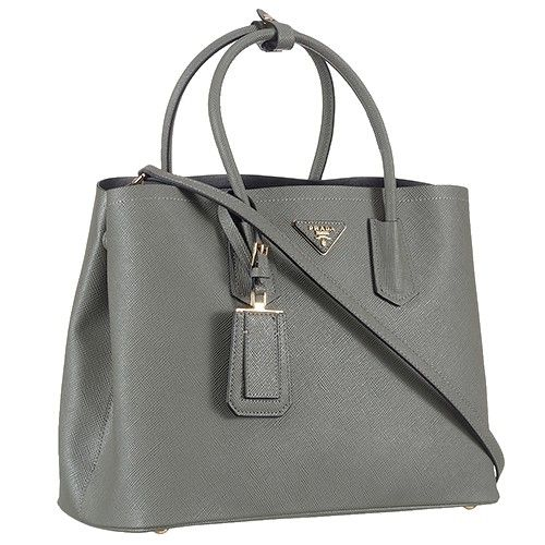 Prada Saffiano Double Tote Grey - Grey may be a dull shade, but it certainky does not look so in this stylish grey leather Prada Saffiano tote
