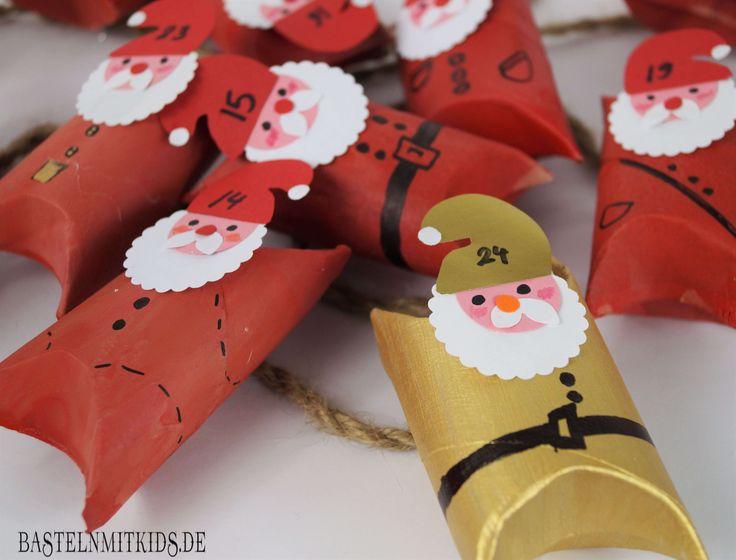 Adventskalender selber basteln aus gesammelten Klopapierrollen. Ein selbstgemachter Adventskalender ist auch eine Geschenkidee.