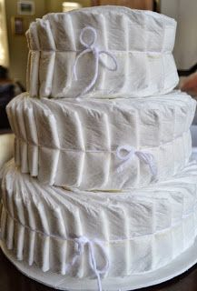 DiY: Diaper Cake tutorial - There are a lot of examples of how they made the cakes to look like in the gallery...