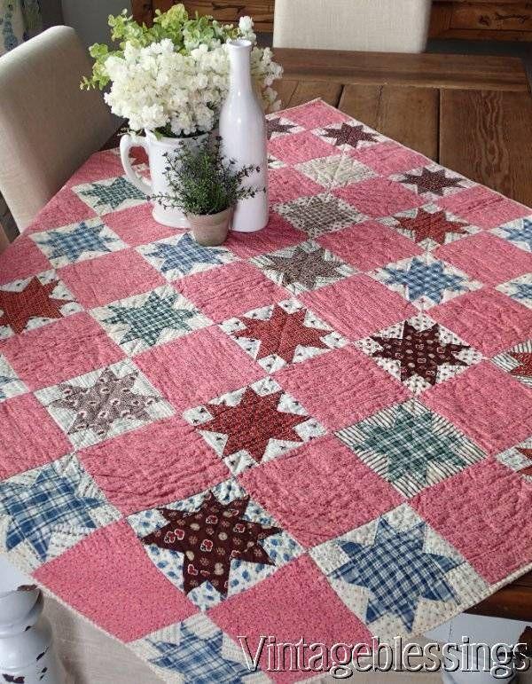 """Authentic Antique c1880 LeMoyne Stars Crib QUILT 47x41""""Beautiful Fabrics!"""
