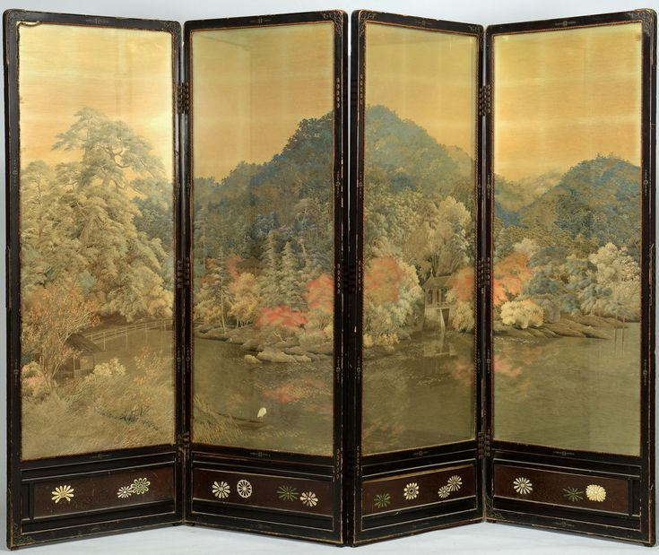 The Folding Screen Consists Of Four Ebonized Hardwood Sections, Inset With  Embroidered Silk Panels Depicting A Mountain Landscape Lau2026