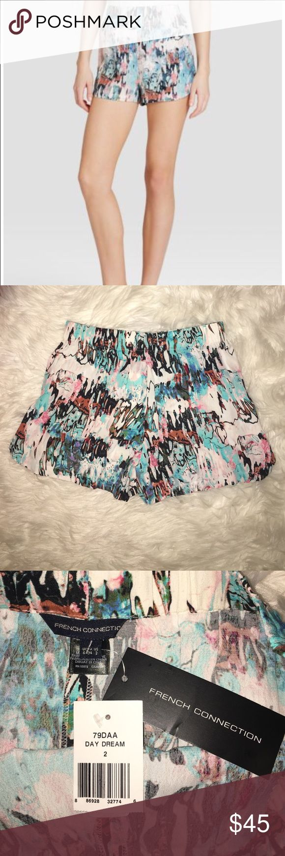 NWT French Connection Day Dream Shorts Size 2 New with tags French Connection Isla Ripple shorts in Day Dream multicolored print. Size 2. Sold out online! Elastic waistband. So comfy and cute! French Connection Shorts
