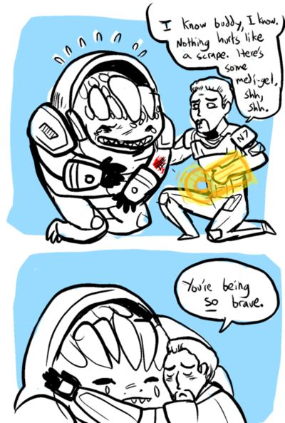 Mass Effect 2 - Grunt has a booboo :'(  Granted, in the second game he tries to rip your throat out with one hand but in the third one, he's your BABY. <3