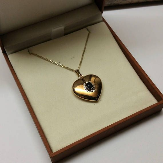 Anhänger Herz Gold 333 Saphir Cabochon edel GA206