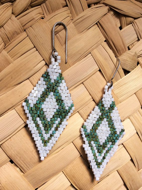 Native American Style Earrings.  Brick Stitch Earrings