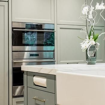 Gray Kitchen Island with Built In Paper Towel Holder