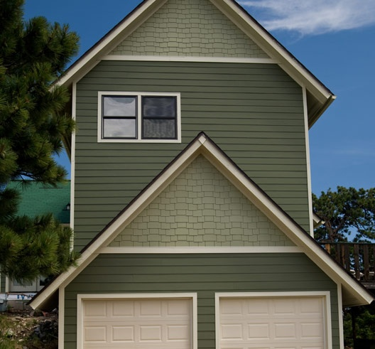 2 Tone Green Hardie Board And Shingles Exteriors