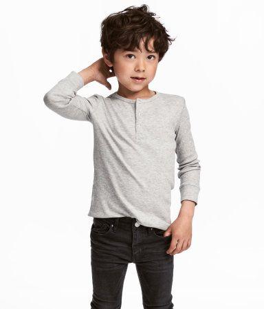 Ribbed Henley Shirt | Gray melange | Kids | H&M US