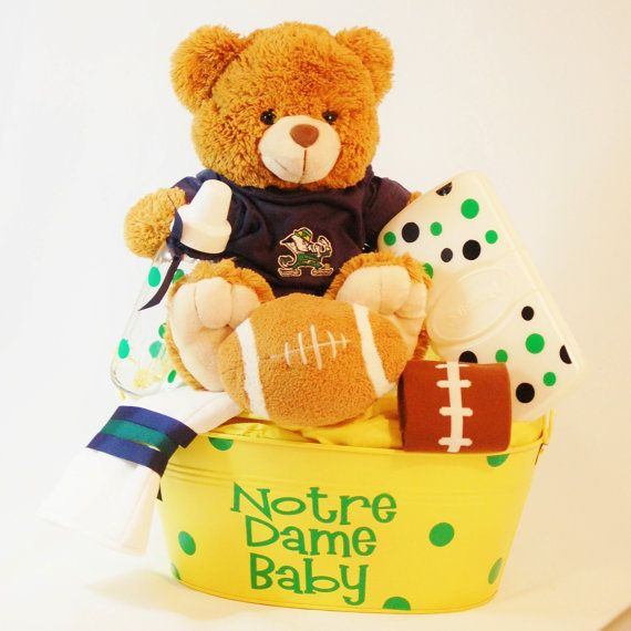 Make for any team!   Notre Dame Baby Gift     Baby Baskets by BabyBasketsU on Etsy, $75.00