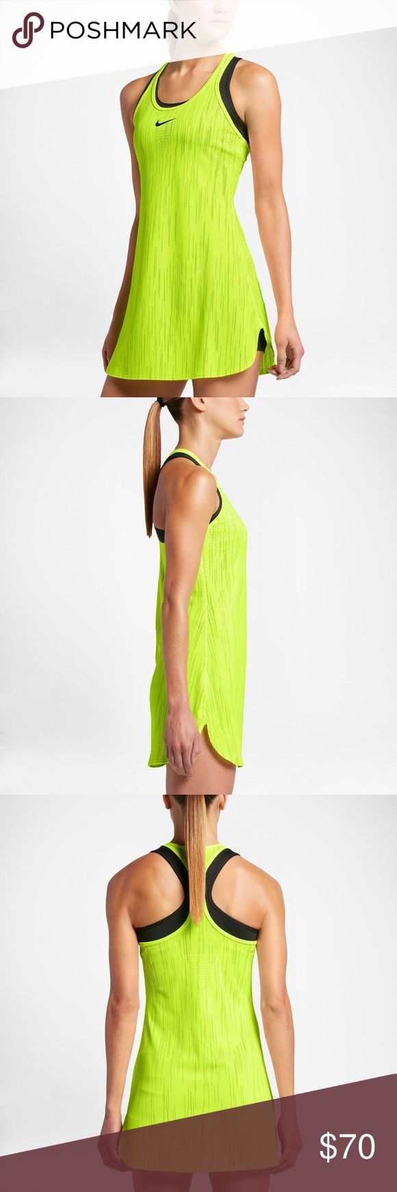 [NIKE] Tennis Dress **NIKE** Tennis Dress. Ventilation in high-heat zones enhances breathability. Dri-FIT technology helps keep you dry and comfortable. Seamless knit construction for a smooth feel. Racerback and split hems. 100% Polyester. (colors in picture are a little enhanced.) 💦Make an Offer.🎾 Nike Dresses