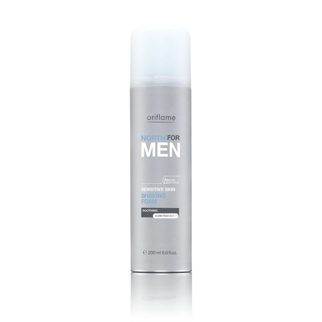 Espuma de Afeitar para Piel Sensible North For Men. La tecnología Glide-Tech protege contra los pequeños cortes e irritaciones y proporciona un afeitado más efectivo. Deja tu piel suave, fina y calmada. 200  ml. Código:14652  #oriflame