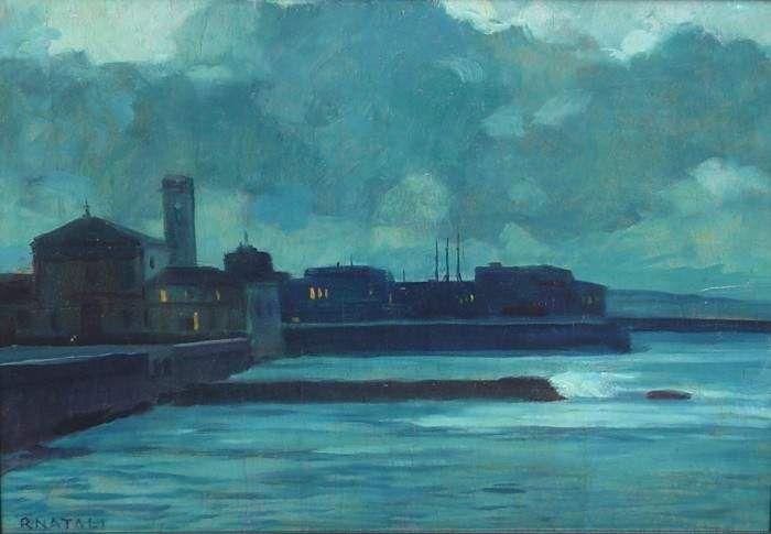 """Renato Natali (Livorno 1883 - 1979), """"Il Porto di Livorno"""". Olio su tela"""