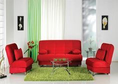 This Green Carpet And Blindes Go Really Well With The Red Couches Chairs They Make White Walled Room Pop