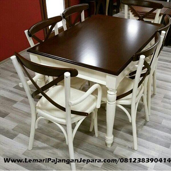 Jual Set Kursi Silang Meja Makan Minimalis merupakan Produk Mebel asli dari Jepara dengan Desain Meja Minimalis Dan Kursi Cafe Silang Cat Putih Duco