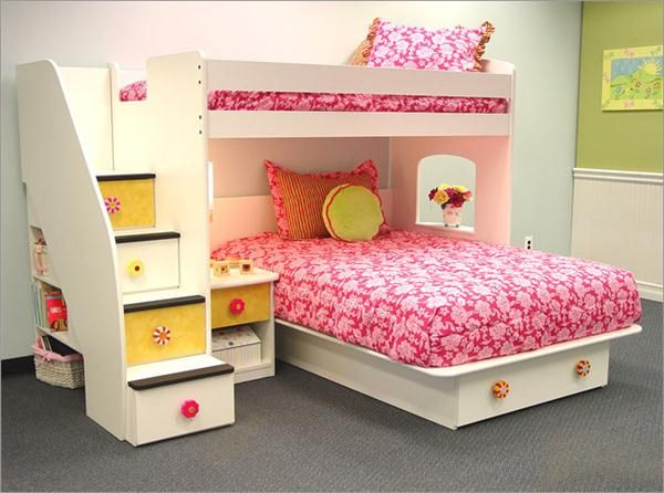 Girl Bedroom. Inspiring The Design Ideas And Contemplation When Obtaining Kids Bedroom Furniture: Minimalist Bunk Bed Children Bedroom Furniture With Pink Flower Pattern Bed Cover And Grey Carpet Design ~ wegli