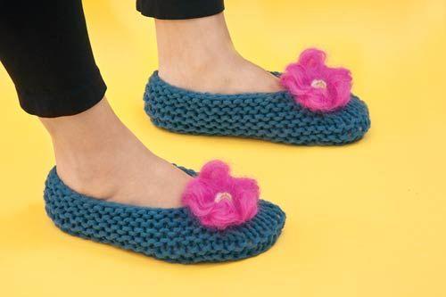 Pantuflas tejidas a dos agujas. | 2 agujas | Pinterest