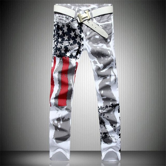 Good price Mens Printed Jeans Flag Printing Design White Jeans For Men Stars Striped Straight Ripped Jeans Male 36 Free Shipping just only $23.19 - 24.32 with free shipping worldwide  #jeansformen Plese click on picture to see our special price for you