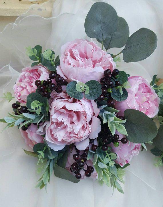 Bride, bridesmaid bouquet, wedding flowers, artificial wedding bouquet.  Pink peonies, berries, eucalyptus foliage.