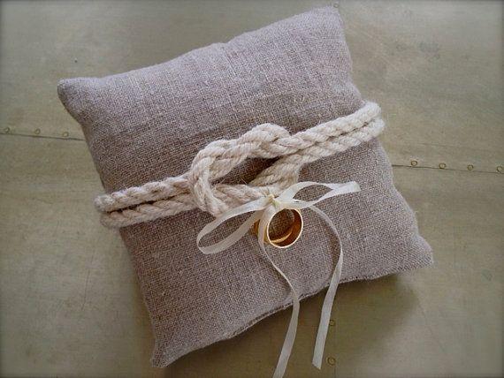 Linen wedding ring pillow nautical by EandAHeritage on Etsy, $38.00