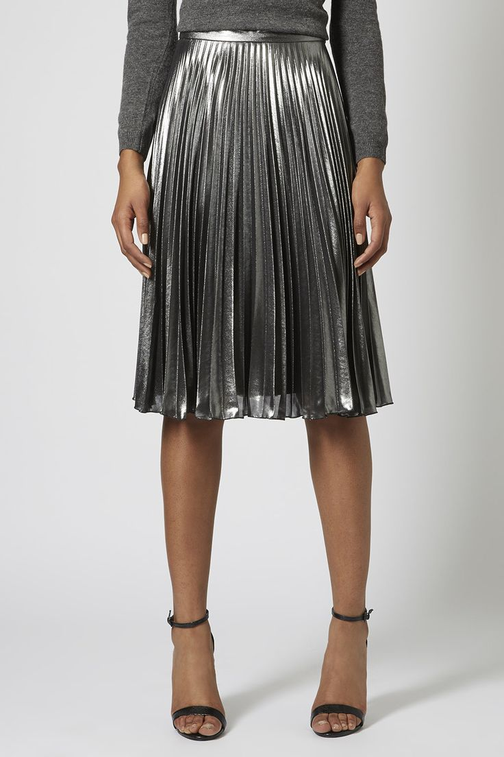 Photo 3 of Metallic Pleated Midi Skirt