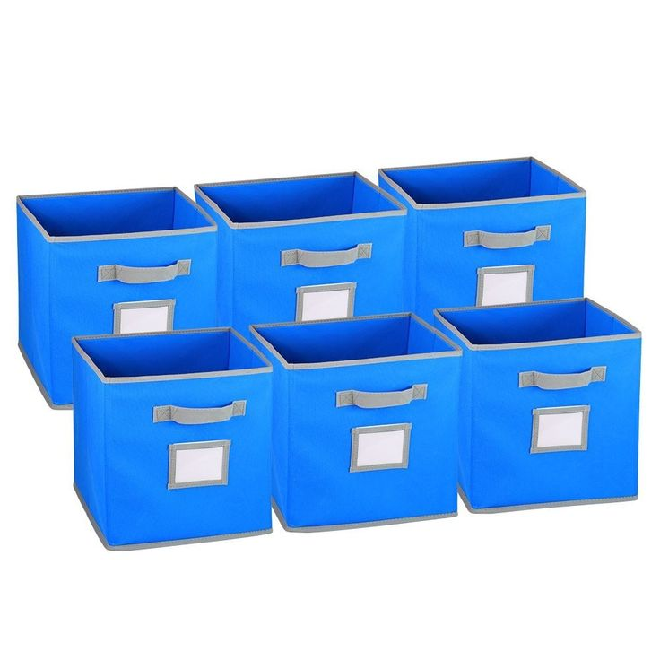 Collapsible Fabric Cubicle Storage Bin with Label Window