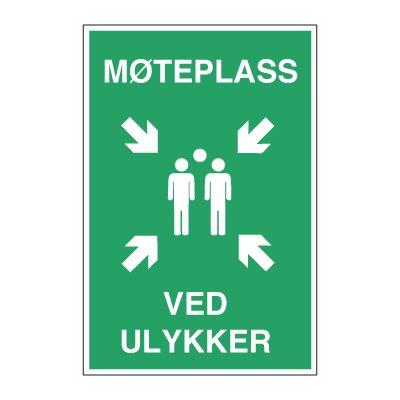 Møteplass ved Ulykker - 2 mm. alu. med refleks - 600x400 mm