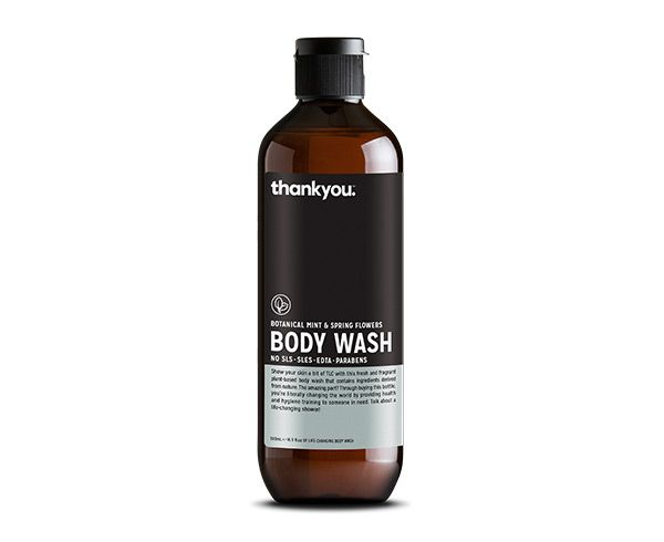 Thankyou 500mL Mint & Spring Flowers Body Wash. Free from parabens, SLS, SLES, EDTA and harsh chemicals (RRP $7.99)