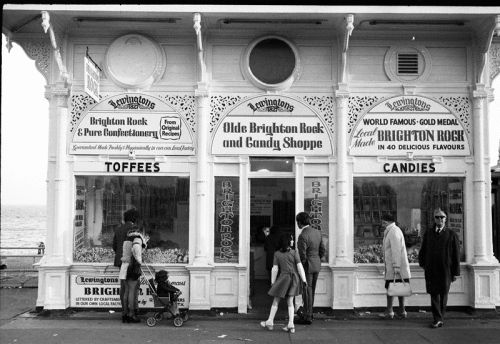 Archive photograph on the (now derelict) West Pier in Brighton: 'Old Brighton Rock & Candy Shoppe' taken in 1975, by Peter Lane