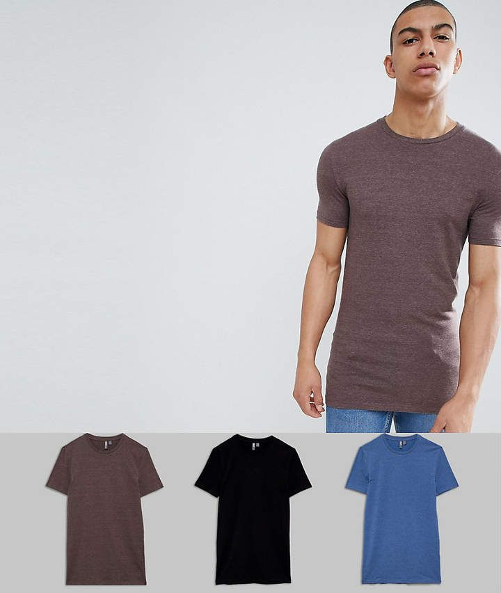 6c4cbc14 ASOS DESIGN Longline Muscle Fit T-Shirt With Crew Neck And Stretch 3 Pack  Save
