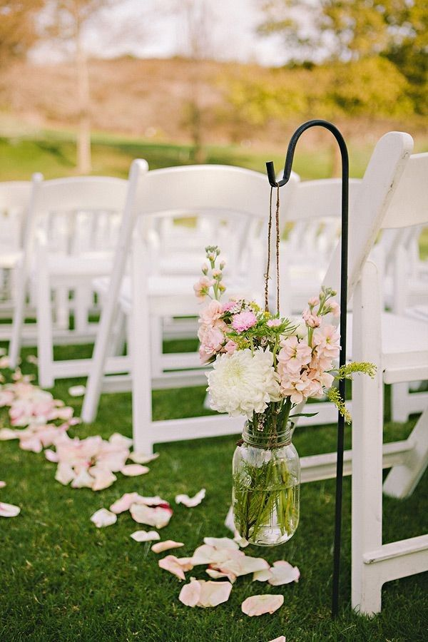 Vintage red barn wedding ceremony, hanging mason jars chair decor, summer wedding inspiration #2014 Valentines day wedding #Summer wedding ideas www.dreamyweddingideas.com