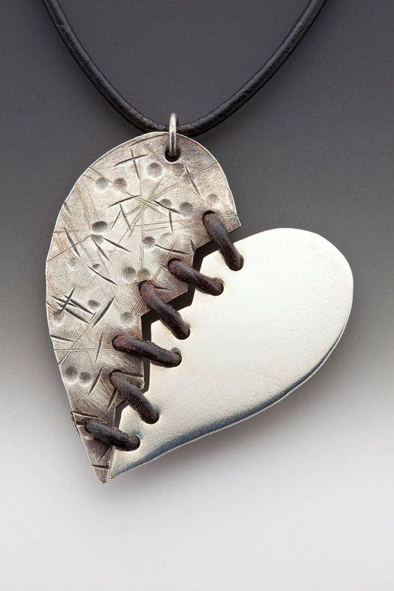 Mended Heart Necklace by MeeshkaJewelryDesign on Etsy