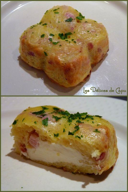 Gateau de pomme de terre  500 g de pommes de terre épluchées - 150 g de lardons fumés - 6 Kiri® - 1 poignée de gruyère râpé - 3 œufs  - 3 cuillères à soupe rases de farine - ½ càc de sel - ½ càc de muscade - poivre