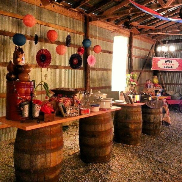 Rustic Food Bar Sweet 16 Barn Birthday Party  Moore