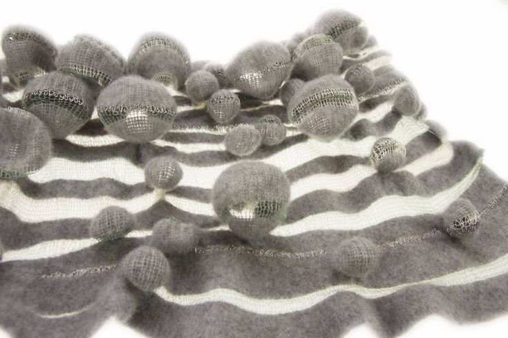 3D knit sample with felted bubble textures; textiles design inspired by organic form; fabric manipulation // Harriet Williams