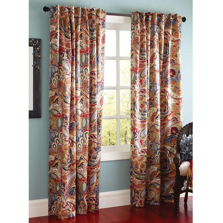 Dining room window--Vibrant Paisley Curtain