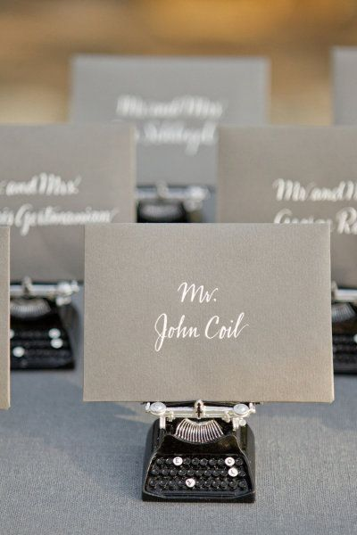 Mini typewriter escort card holders!!
