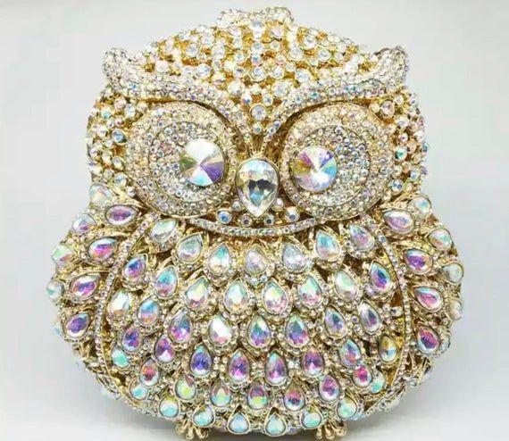 Swarovski Crystal Diamond Owl Clutch Pusre Chain Bag Etsy Clutch Bag Crystal Rhinestone Clutch Bag Party