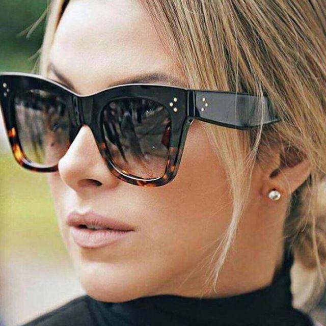 Catherine Large GLOSSY Square Cat Eye Designer Big Audrey Flat top Sunglasses L
